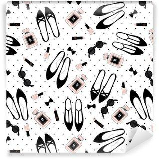 Pixerstick Duvar Kağıdı Dikişsiz moda aksesuarları deseni. siyah ayakkabı, pembe ruj, oje, parfüm, Lekeli zemin üzerine güneş gözlüğü ile şirin moda illüstrasyon.