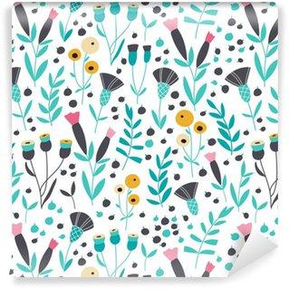 Vinil Duvar Kağıdı Dikişsiz parlak İskandinav floral pattern