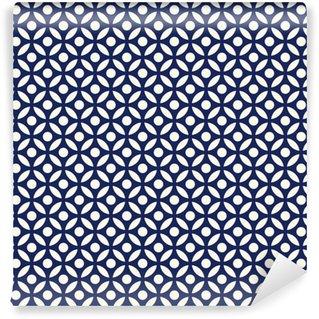Pixerstick Duvar Kağıdı Dikişsiz porselen çivit mavi ve beyaz arap yuvarlak model vektör
