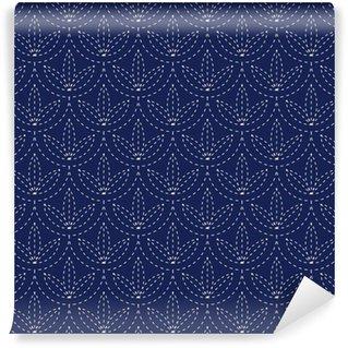 Vinil Duvar Kağıdı Dikişsiz porselen çivit mavi ve beyaz eski japon Sashiko kimono model vektör