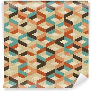 Vinil Duvar Kağıdı Dikişsiz retro, geometrik desen.