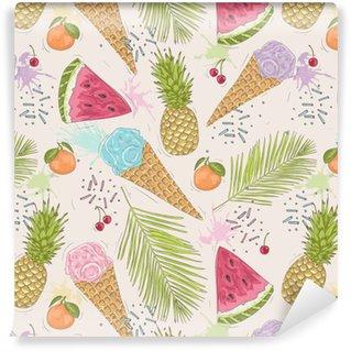 Vinil Duvar Kağıdı Dondurmalar, ananas Sevimli seamless pattern. vektör backgr