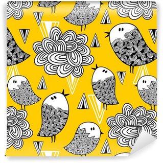 Vinil Duvar Kağıdı Doodle kuş ve tasarım öğeleri ile yaratıcı sorunsuz desen.