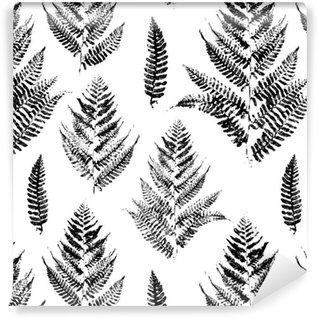 Pixerstick Duvar Kağıdı Eğrelti yaprakları boya baskılar Seamless pattern