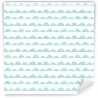 Vinil Duvar Kağıdı El çizilmiş tarzı İskandinav kesintisiz nane desen. Stilize tepe satırları. kumaş, tekstil ve bebek keten basit bir desen Dalga.