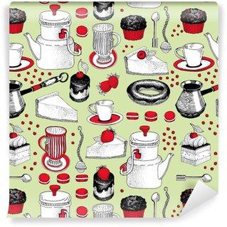Vinil Duvar Kağıdı El ile çizilmiş çay ve kahve ve tatlı illüstrasyonlar vektör sorunsuz desen. pastane, kafe, dükkan ve ürünler için kullanılabilir.