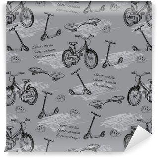 Pixerstick Duvar Kağıdı Elle çizilmiş bebek bisiklet, skateb kesintisiz desen illüstrasyon