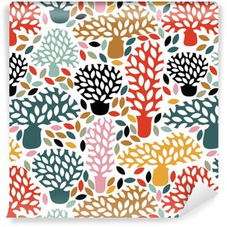 Vinil Duvar Kağıdı Elle çizilmiş doodle ağaçları ile vektör çok renkli seamless pattern. Özet sonbahar doğa arka plan. kumaş tasarımı, tekstil sonbahar baskılar, ambalaj kağıdı.