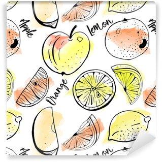 Vinil Duvar Kağıdı Elle çizilmiş elma, portakal, suluboya arka plan üzerinde dilimler limon vektör sorunsuz desen. kapak, baskı tasarımı.