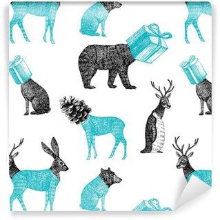 Vinil Duvar Kağıdı Elle çizilmiş kış hayvanlar kesintisiz arka plan