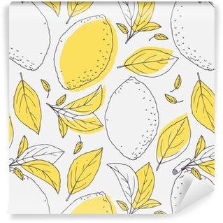 Vinil Duvar Kağıdı Elle çizilmiş limon ve yaprakları ile sorunsuz desen anahat. paket veya mutfak tasarımı için Doodle meyve