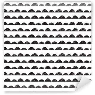 Pixerstick Duvar Kağıdı Elle çizilmiş tarzı İskandinav dikişsiz siyah ve beyaz desen. Stilize tepe satırları. kumaş, tekstil ve bebek keten basit bir desen Dalga.