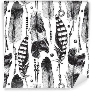 Vinil Duvar Kağıdı Elle çizilmiş tüyleri ile Seamless pattern