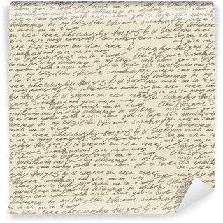 Vinil Duvar Kağıdı Eski vintage kağıt üzerinde soyut el yazısı. Dikişsiz desen, vec
