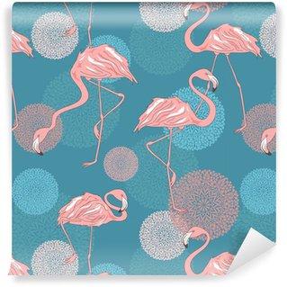 Vinil Duvar Kağıdı Flamingo Seamless pattern
