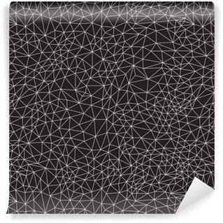Vinil Duvar Kağıdı Geometrik arka plân, hattı tasarımı, vektör çizim. Poligon arka plan. Siyah ve beyaz, dikişsiz desen