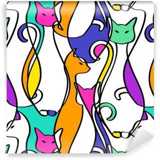 Vinil Duvar Kağıdı Geometrik Soyut Kediler Of Dikişsiz Desen.