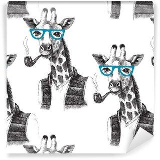 Pixerstick Duvar Kağıdı Giyinmiş zürafa hipster ile sorunsuz desen