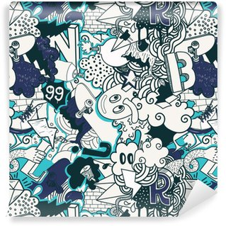 Vinil Duvar Kağıdı Graffiti renkli dikişsiz desen