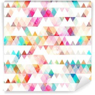 Vinil Duvar Kağıdı Grunge etkisi ile gökkuşağı üçgen sorunsuz desen