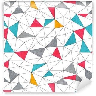 Vinil Duvar Kağıdı Grunge etkisi ile soyut renkli üçgen kesintisiz desen