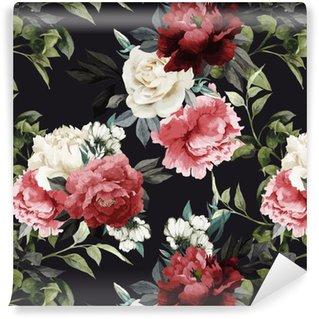 Vinil Duvar Kağıdı Gül, suluboya ile Seamless floral pattern. vektör illustrat