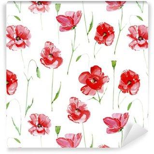 Pixerstick Duvar Kağıdı Haşhaş flowers.Floral kesintisiz pattern.Watercolor El kumaş, kağıt ve diğer baskı ve web projeleri için illustration.White background.Seamless desen çizilmiş.