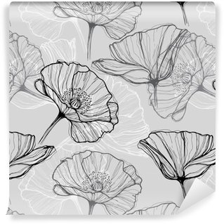 Vinil Duvar Kağıdı Haşhaş monokrom sorunsuz desen. Elle çizilmiş çiçek arka plan