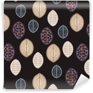 Vinil Duvar Kağıdı Ilkel yaprakları ile Seamless floral pattern. ilkel yaprakları ile Seamless floral pattern. Tribal etnik köken, siyah zemin üzerine köstebek tonları. Tekstil tasarımı.