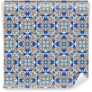 Pixerstick Duvar Kağıdı İnce oryantal renkli halı ya da siyah zemin üzerine beyaz eğrileri, vektör simetrik geometrik desenleri ile turuncu ve mavi renklerde seramik süsleme