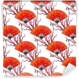Vinil Duvar Kağıdı Japon El fan ve sakura kiraz çiçeği vektör arka planı ile sorunsuz Japonya desen. duvar kağıtları için mükemmel, desen doldurur, web sayfası arka planlar, yüzey dokuları, tekstil