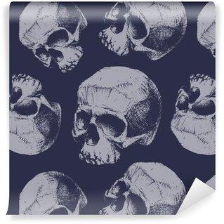 Pixerstick Duvar Kağıdı Kafatasları ile grunge seamless pattern.