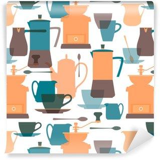 Vinil Duvar Kağıdı Kahve makinesi, cezve, kahve değirmeni, cezve, sürahi, kahve fincanı, kaşık, tabağı. kahve yemekleri. düz renk şeffaf siluetler. dikişsiz arka plan. vektör illüstrasyonu.