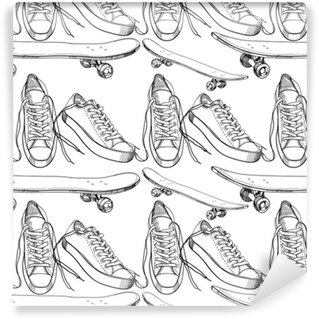 Vinil Duvar Kağıdı Kaykay sorunsuz desen, w ile spor ayakkabı illüstrasyon