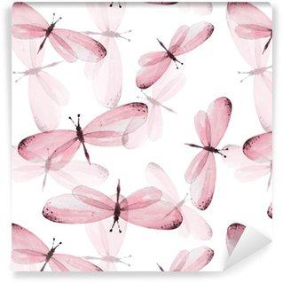 Vinil Duvar Kağıdı Kelebekler desen. Seamless vector background. Suluboya resim 10