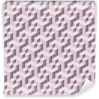 Vinil Duvar Kağıdı Kesintisiz tilable pembe 3d izometrik küp desen