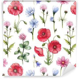 Vinil Duvar Kağıdı Kır çiçekleri çizimler. Suluboya sorunsuz desen