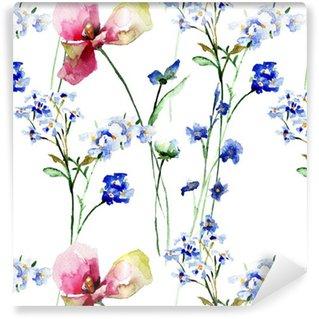 Vinil Duvar Kağıdı Kır çiçekleri ile Seamless pattern