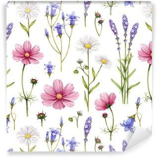 Vinil Duvar Kağıdı Kır çiçekleri illüstrasyon. Suluboya sorunsuz desen