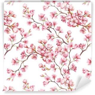 Pixerstick Duvar Kağıdı Kiraz çiçekleri ile sorunsuz desen. Suluboya resimde.