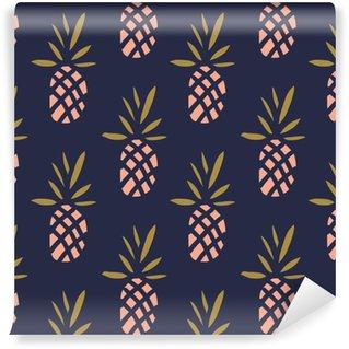 Vinil Duvar Kağıdı Koyu zemin üzerine ananas. tropikal meyve Vektör sorunsuz desen.