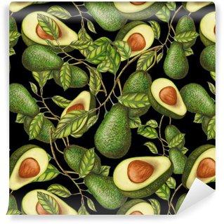 Vinil Duvar Kağıdı Koyu zemin üzerine çizilmiş avokado, dikişsiz desen