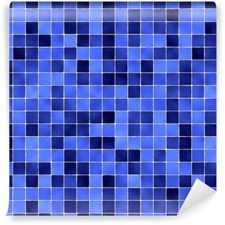 Vinil Duvar Kağıdı Mavi banyo karoları