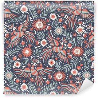Pixerstick Duvar Kağıdı Meksika nakış seamless pattern. Renkli ve süslü etnik desen. Koyu kırmızı ve siyah arka plan üzerinde kuşlar ve çiçekler. Parlak etnik takı ile floral background.
