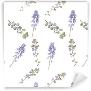Vinil Duvar Kağıdı Model mor çiçekler. Saha çiçekler, ince çim desen suluboya