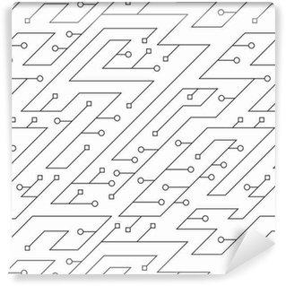 Vinil Duvar Kağıdı Monokrom teknoloji sorunsuz desen