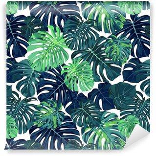 Pixerstick Duvar Kağıdı Monstera hurma ile Yeşil vektör desen koyu arka plan üzerinde bırakır. Sorunsuz yaz tropikal kumaş tasarımı.