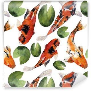Vinil Duvar Kağıdı Nilüfer kesintisiz desen suluboya oryantal gökkuşağı sazan. Koi balıkları süs beyaz bir arka plan üzerinde izole edilmiştir. tasarım, arka plan veya kumaş Sualtı illüstrasyon