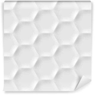 Vinil Duvar Kağıdı Origami tarzı gölgeler ve ışıklar yapılmış altıgen hücreler ile sorunsuz desen. Beyaz tekrarlanan arka plan.