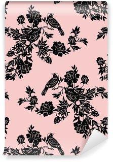Pixerstick Duvar Kağıdı Oryantal çiçek ve kuş desenleri